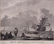 XXVIII-10-01 Gezicht op de Brielse Maas met schepen tussen de Hoek van Holland en Den Briel.