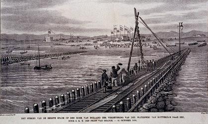 XXVIII-56 31 oktober 1866Het steken van de eerste spade, ter verbetering van de Nieuwe Waterweg in Hoek van Holland, ...