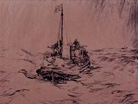 XXVIII-57 Gezicht op de Nieuwe Waterweg met een reddingboot.