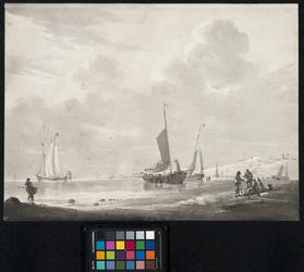 XXVIII-8-1 Op de voorgrond en rechts een strand met duinen. Links de zee. Voor de kust enkele bij laag water ...