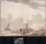 XXVIII-8-2 Op de voorgrond en rechts een strand met duinen. Links de zee. Voor de kust enkele bij laag water ...