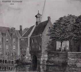 XXXI-107 Gezicht op het Kraanhuis te Delfshaven.