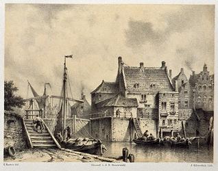 XXXI-111 Gezicht op de Aelbrechtskolk met de schutsluis aan de Delfshaven.