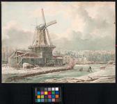 XXXI-122-1 Gezicht op de houtzaagmolen François aan de Westzeedijk in de winter.