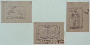 XXXI-124-01-11-TM-13 Gevelstenen van de Delfshavense huizen.-11 (links): Wijk C, nr. 80. In jonghe hart.-12 (midden): ...