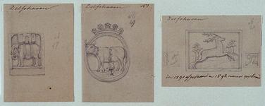 XXXI-124-01-5-TM-7 Gevelstenen van de Delfshavense huizen.-5 (links): Wijk A, nr. 47.-6 (midden): Wijk A, nr. 49.-7 ...