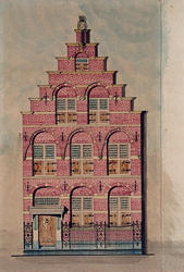 XXXI-126-1 Voorgevel van een huis aan de Aelbrechtskolk nummer 57.