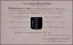 XXXI-140-04-2 Wapendiploma van de Gemeente Delfshaven. Het wapen op het zakkendragershuisje aan de Voorstraat op een ...