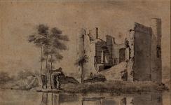 XXXI-140-25-06 Ruïne van het kasteel te Heenvliet, met op de voorgrond een deel van de slotgracht.