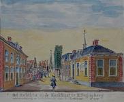 XXXI-172-14 Het rechthuis uit het noord-oosten. Het Rechthuis en de Kerkstraet te Hillegersberg waterverw-teikening van ...
