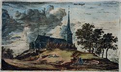 XXXI-208 Gezicht op de Nederlandse Hervormde Kerk Den Bergh op de heuvel of de terp, uit het noordoosten.