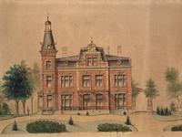 XXXI-231-02 Gezicht op de villa van familie De Kat (latere gemeentehuis) aan de Straatweg, uit het oosten.
