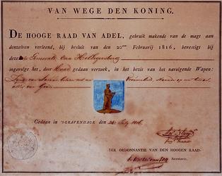 XXXI-237-05 Wapendiploma van de Gemeente Hillegersberg verleend door de Hoge Raad van Adel.