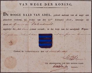 XXXI-267-01 Wapendiploma van de Gemeente Katendrecht uitgegeven door de Hoge Raad van Adel.