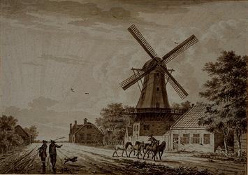 XXXI-293-01 Honingerdijk met herberg In den Rustwat en molen De Zonnebloem.