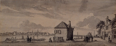 XXXI-305 Bij het Kralingse veer, in de verte het dorp IJsselmonde op 12 september 1750.