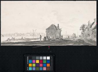 XXXI-311 Het Kralingse Veer met op de achtergrond het dorp IJsselmonde.