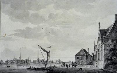 XXXI-312 Het dorp IJsselmonde gezien vanaf het Kralingseveer.