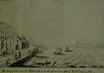 XXXI-324 Gezicht vanuit de kapel van St Elbrecht (Nesserdijk) op de Nieuwe Maas en het dorp IJsselmonde.