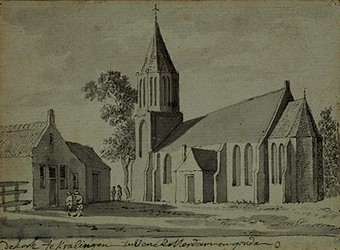XXXI-326 De kerk van Kralingen gelegen tussen Rotterdam en Gouda.