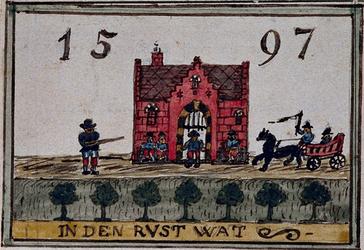 XXXI-332-1 Voorgevel en gevelsteen van de herberg In den Rustwat aan de Honingerdijk te Kralingen.3 tekeningen op één ...