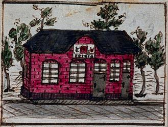XXXI-332-2 Voorgevel en gevelsteen van de herberg In den Rustwat aan de Honingerdijk te Kralingen.3 tekeningen op één ...