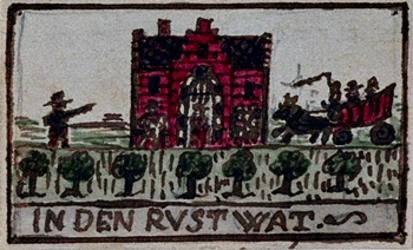 XXXI-332-3 Voorgevel en gevelsteen van de herberg In den Rustwat aan de Honingerdijk te Kralingen.3 tekeningen op één ...