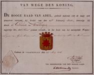 XXXI-358-00-01 Wapendiploma van de Gemeente Kralingen uitgegeven door de Hoge Raad van Adel.