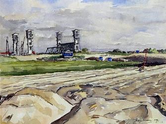 XXXI-358-02-30 De stormstuw en Minister Algerabrug over de Hollandse IJssel, uit het noordwesten.