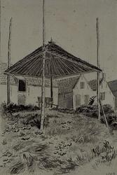 XXXI-358-06 Een boerderij in Krimpen aan den IJssel met op de voorgrond het bouwwerk van een hooimijt.