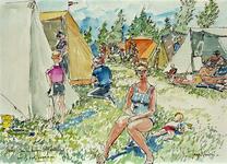 XXXI-366-01-05-03 Rotterdams gemeentelijk tentenkamp De Gorzen te Oostvoorne, gezicht in het kamp met tenten en kampeerders.