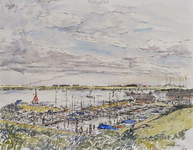 XXXI-366-01-06-20 Jachthaven aan het Brielse Meer in Oostvoorne, uit het zuidwesten.
