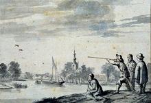 XXXI-374 het Dorp Overschie (achterzijde tekening)Groep jagers op de Overschieseweg, hoek Delfhavense Schie. Op de ...
