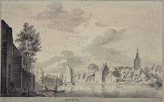 XXXI-376 Overschie met de Delftse Schie en het tolhuis.