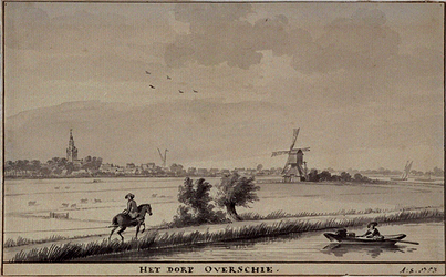 XXXI-377-1 Overschie vanaf de Rotterdamse Schie, rechts Kleinpolderwipwatermolen (zuidelijk van de Rotterdamse Schie).