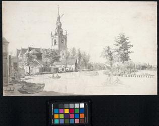 XXXI-384 Op de voorgrond de Delftse Schie en op de achtergrond links het dorp Overschie. Gezien uit noordoostelijke ...