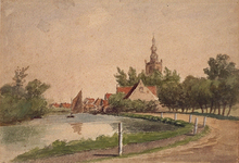 XXXI-387 Overschie gezien vanaf de Schiedamse Schie.