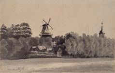 XXXI-388-01 Gezicht op de RK Kerk aan de Hoflaan en de molen aan het Buizengat.