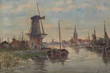 XXXI-389-03 Gezicht op Overschie (geënsceneerd). Links op de voorgrond een molen, gelegen aan de noordelijke oever van ...