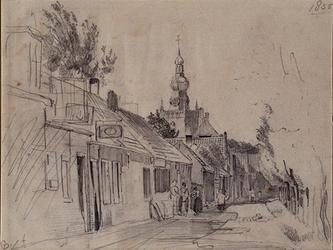 XXXI-408-00-03 Kleinpolderkade uit het oosten, op de achtergond de toren van de Nederlands Hervormde kerk.