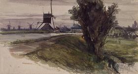 XXXI-410 Gezicht op een vaart met molens onder andere een wipwatermolen en een brug. Mogelijk is het de Rotterdamse ...