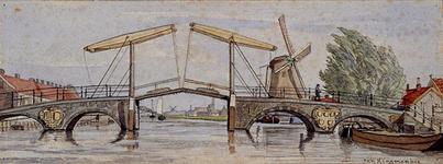 XXXI-419-01-01 Gezicht op de Delfshavense Schie met de Hogebrug. Gezien naar Delfshavenseweg en Delfshavensekade, uit ...