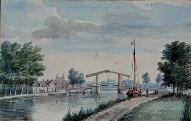 XXXI-419 Een brug te Overschie anno 1757, in de vaart naar Delfshaven.