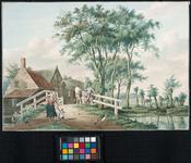XXXI-463 Op de voorgrond een brug over de Polderwatering onder Kethel die hier uitloopt in de Schiedamse Schie; ...