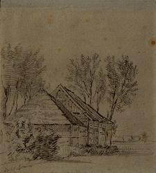 XXXI-473-1 Boerenwoningen in een landschap, aan de Overschiese Kleiweg in Overschie.