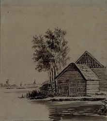 XXXI-473-2 Boerenwoningen in een landschap, aan de Overschiese Kleiweg in Overschie.