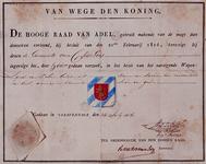 XXXI-51-01 Wapendiploma van de gemeente Charlois uitgereikt door de Hoge Raad van Adel.