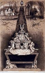 XXXI-578 Graftombe van de gemalinnen van Willem Bentinck in de Nederlandse Hervomrde Kerk te Rhoon.-bovenaan ...