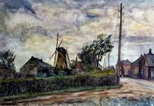 XXXI-597-101 Molen en huizen aan de Molenweg in het dorp Rozenburg, gezien uit het oosten.