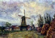 XXXI-597-103 De korenmolen De Hoop aan de Molenweg, te Rozenburg gezien uit het zuidwesten.